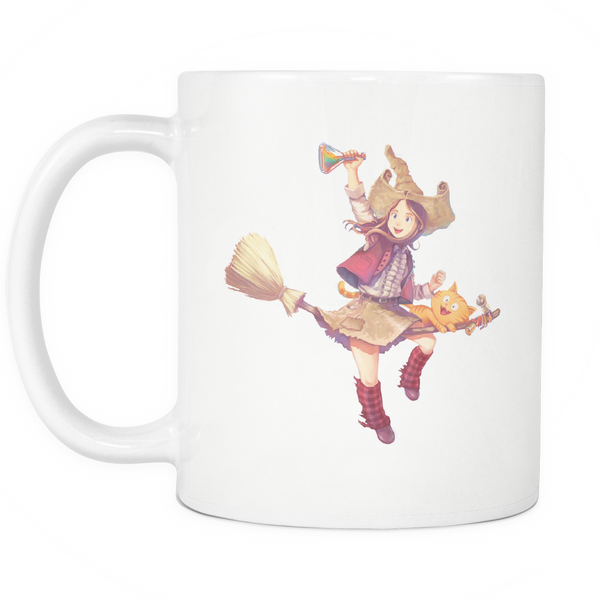Pepper&Carrot Flying Broomstick 11oz Coffee Mug / Cup
