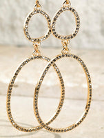 Pave Double Oval Gold Earrings