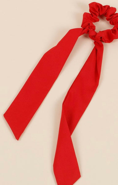 Solid Ponytail Scarf Scrunchy- Red or Beige