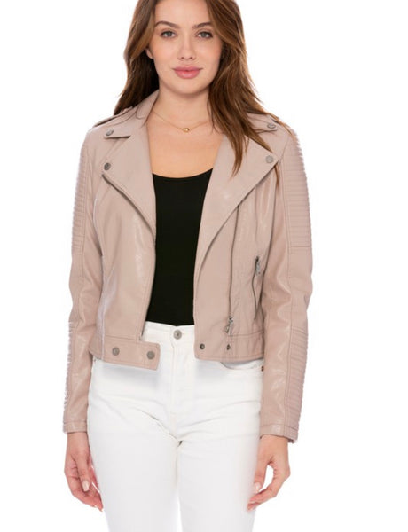 Vegan Leather Moto Jacket Taupe