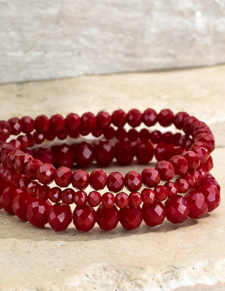 Red Hot Set of 3 Stretch Bracelets