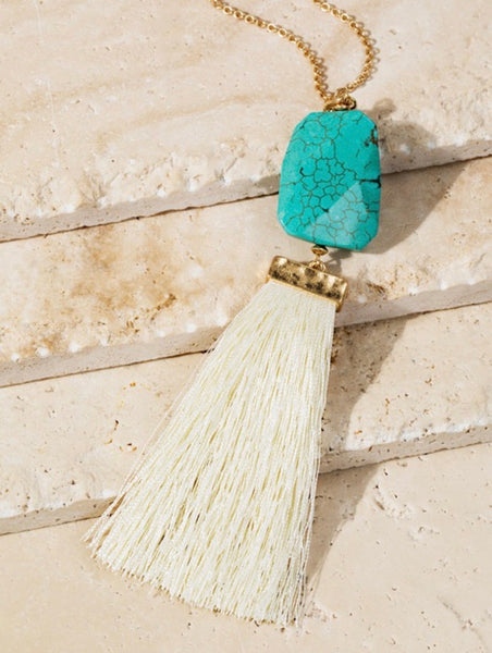 Faceted Stone & Thread Tassel Necklace- N145