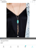 Navy Genuine Lapis Tassel Pendant Necklace