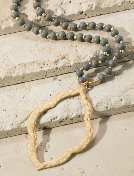 Wood and Metal Bead Necklace with Hammered Quatrefoil