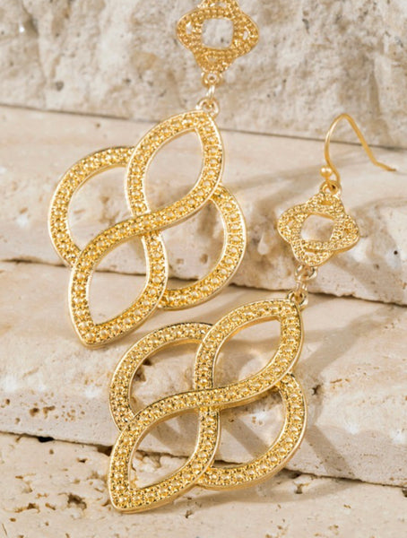 Textured Metal Infinity Swirl Dangle Earrings
