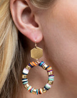 Heishi Bead Hexagon Disc Loop Earrings