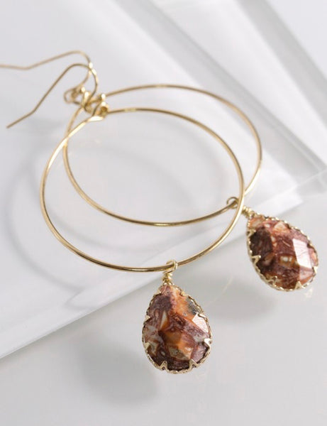 Rhodonite Stone Teardroop Hoop Earrings
