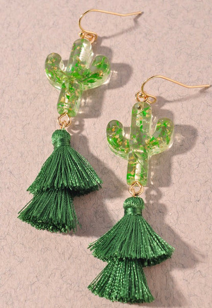 Resin Cactus Tassel Earrings