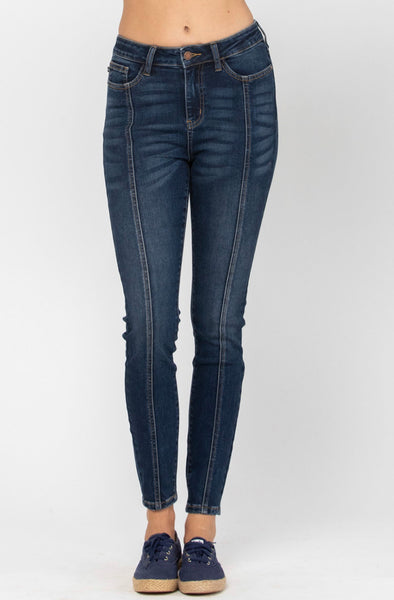 Front Seamed Dark Wash Skinny Denim