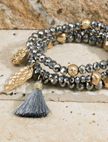 Charms and Tassel Shimmering Bracelet Set 2180