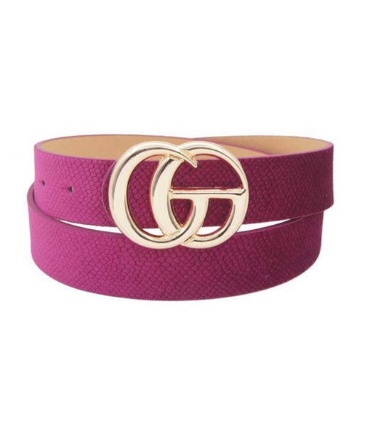 Magenta Velvet Snake Print CG Adjustable Belt