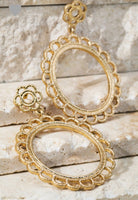 Open Circle Lace Scalloped Flower Post Earrings- 2951