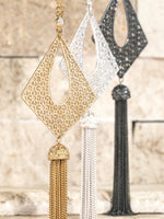 Diamond Filigree with Chain Tassel and Crystal Bezel Chain- 4480
