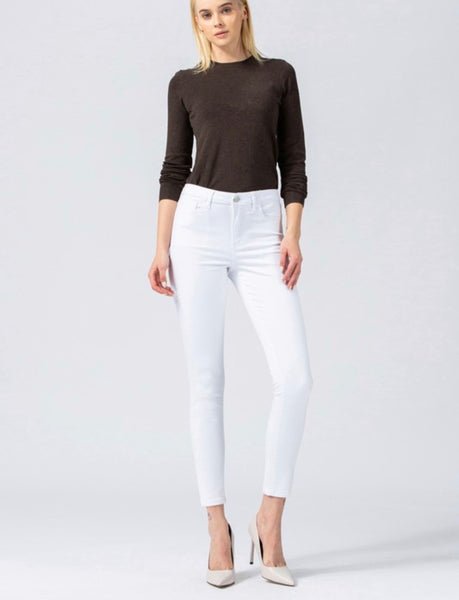 White High Waist Ankle Skinny Jean -183WT