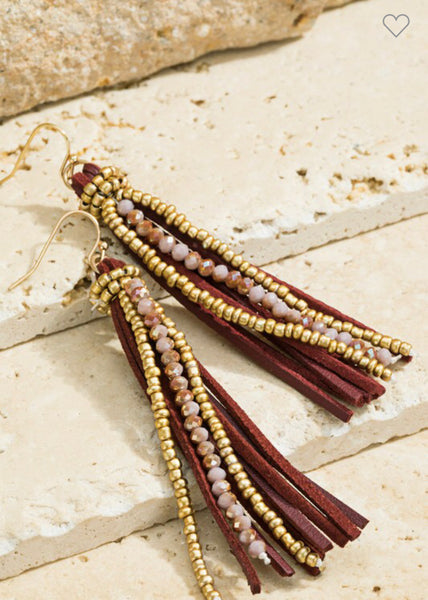 Beaded Leather Tassel Earrings
