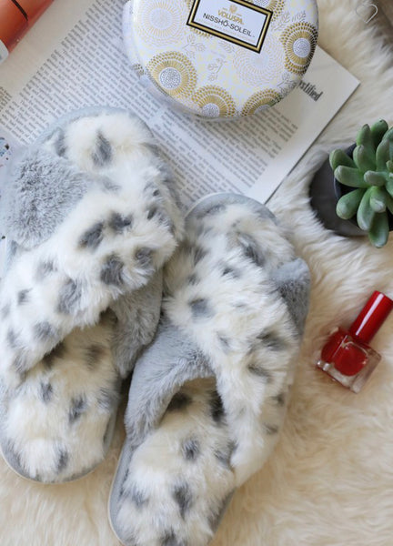 Grey Leopard Slippers