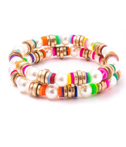 Pearl and Heishi Bead Multicolored Bracelet Set