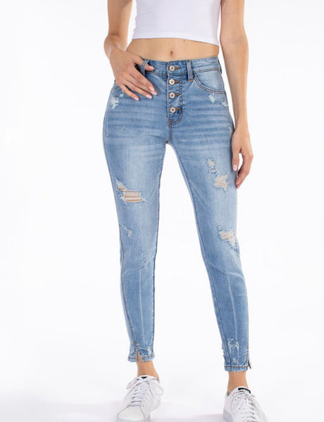 Medium Wash Button Fly Twisted Hem Ankle Skinny Jean