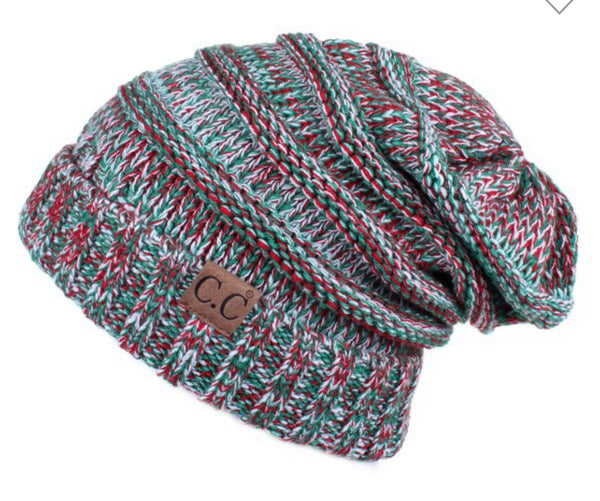 Christmas Red and Green CC Beanie
