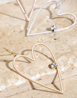 Open Heart with Crystal Earrings Gold
