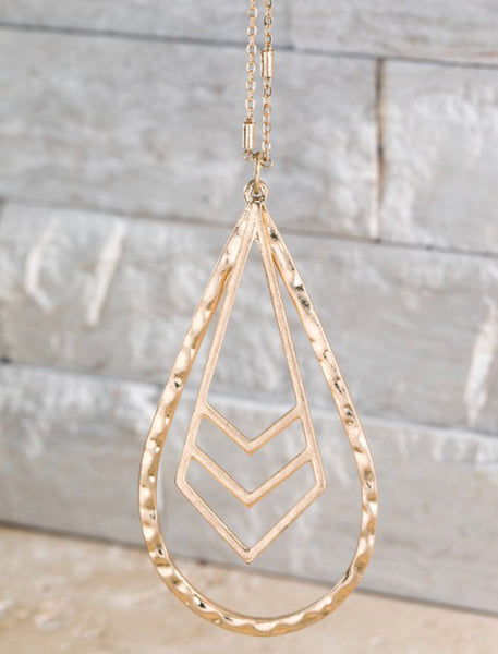 Teardrop with Chevron Long Pendant Necklace