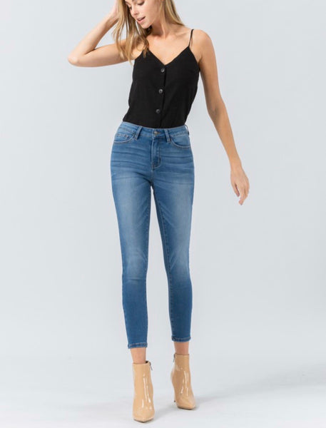 Mid Rise Cropped Skinny Jean Medium Wash- 677