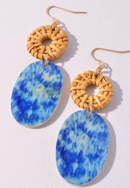 Rattan and Acrylic Oval Earrings