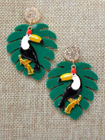 Tucan & Tropical Leaf Resin Earrings