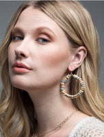 Wooden and Gold Disc Loop Earrings Natural