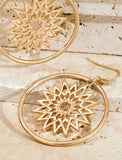 Metal Ring and Sunburst Charm Worn Gold Earrings- 1548