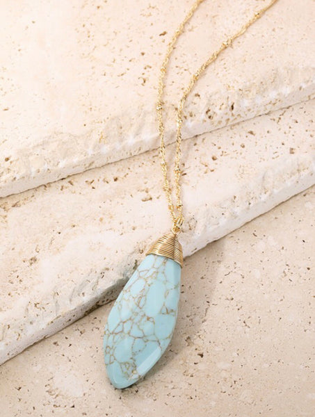 Faceted Turquoise Natural Stone Long Necklace