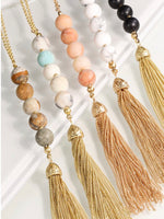 Natural Stone Bead and Fine Chain Tassel Y Necklace