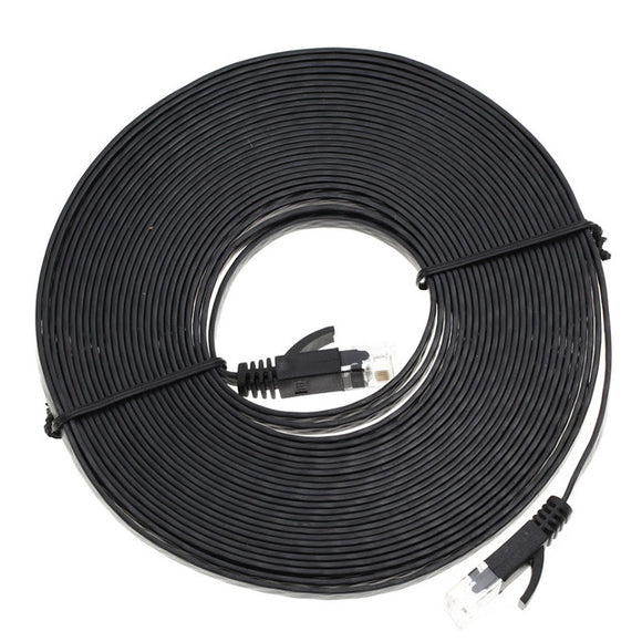30ft Black Flat Cat6e Ethernet Cable