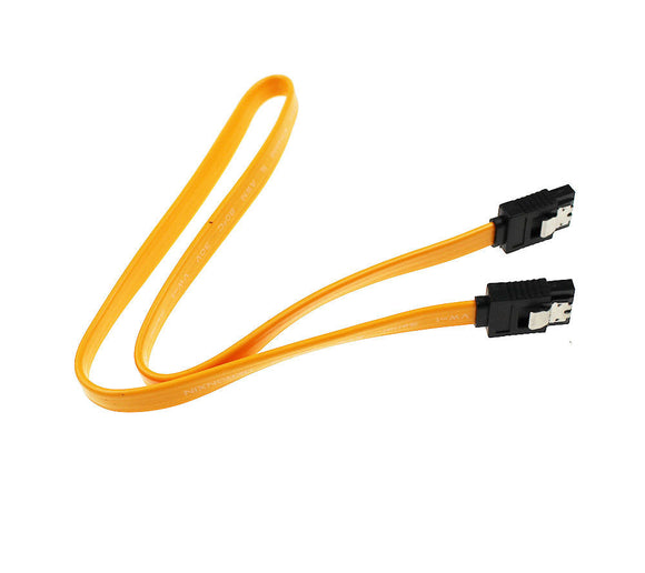2 Pack of 15 Inch Yellow Locking SATA 3 Cables