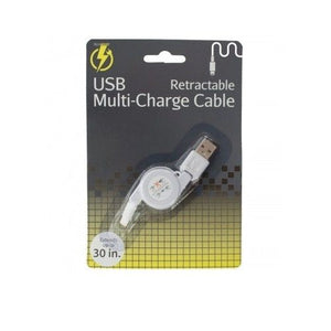 Retractable iPhone iPad iPod Charger MFI Compact Multi-Charge Cable 30in.