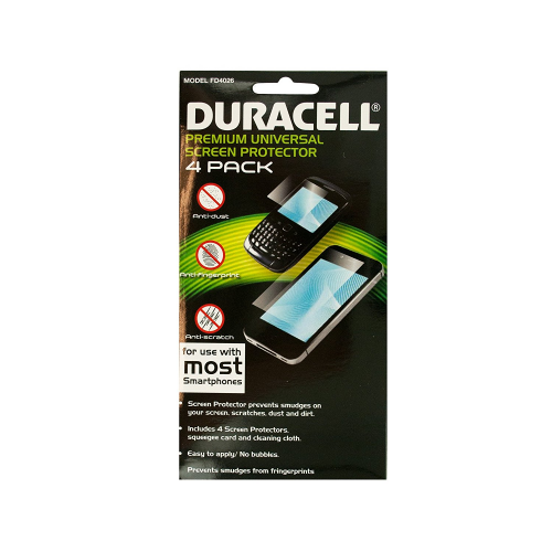 Duracell Universal Screen Protectors (4 Pack, Scratch Resistant, Cut to Fit)
