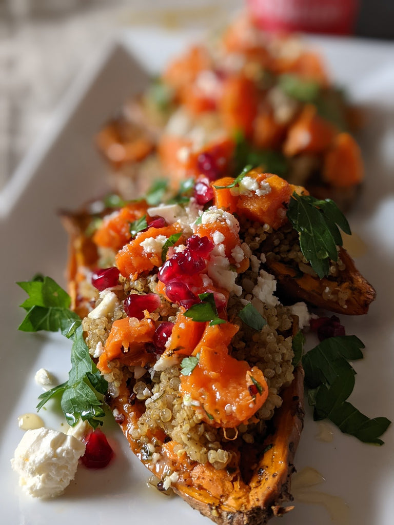 Roasted Sweet Potatoes with Quinoa, Pistachios and Feta Cheese