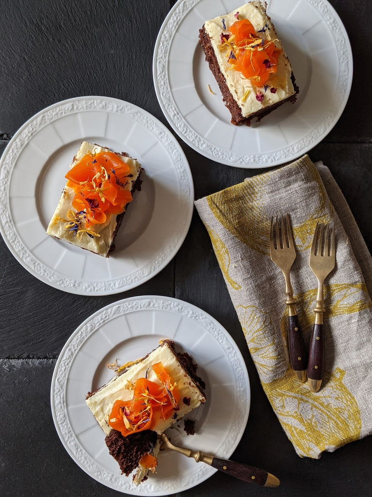 Chocolate Carrot Slice with Cream Cheese and White Chocolate Frosting and Candied Carrots