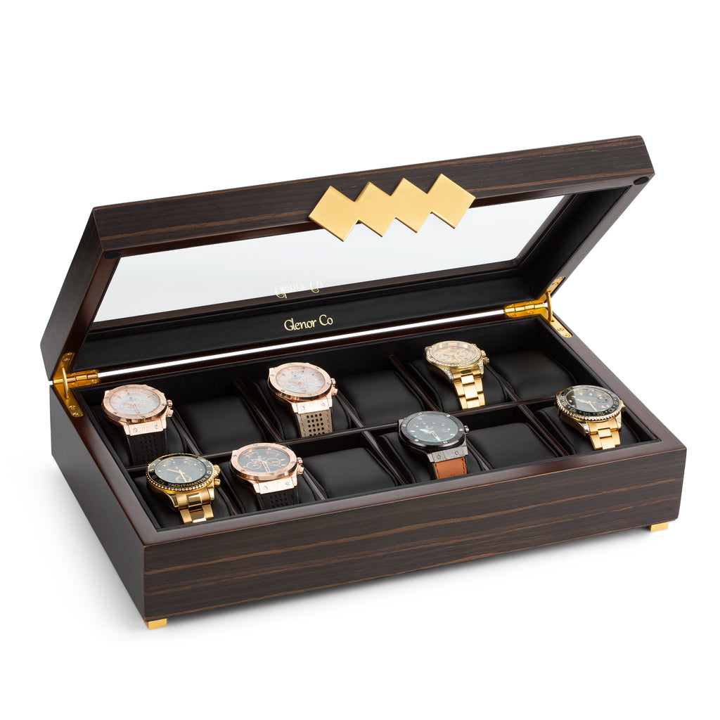 12 Slot Wood Watch Box - Brown Walnut