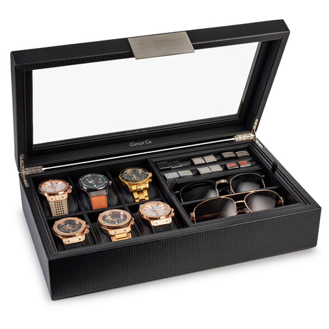 Valet Jewelry Box - Holds 6 Watches, 12 cufflinks, 2 Sunglasses & Tray Storage