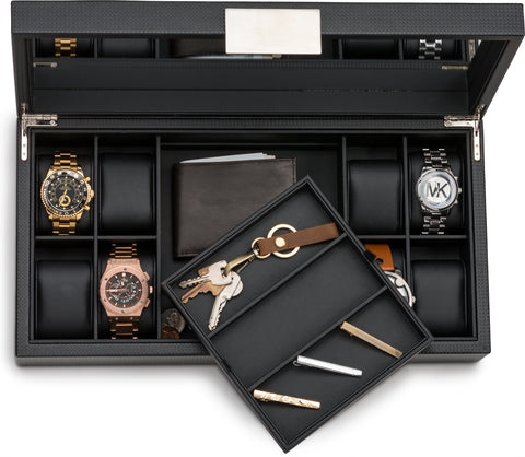 Watch and Sunglass Box with Valet Tray