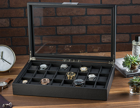 Men's Watch Organizer Box - 24 Slots