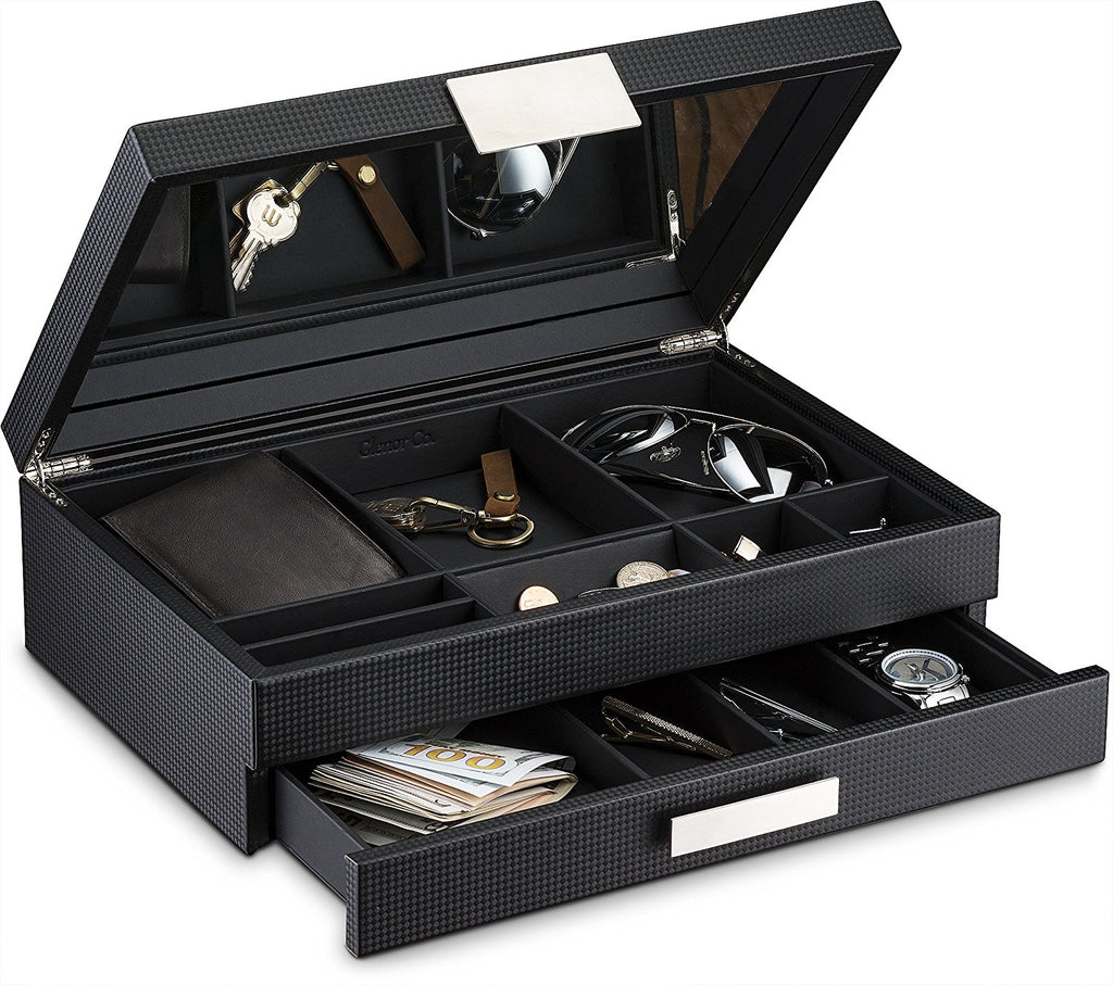 Men's Luxury Jewelry Accessories Box & Dresser Organizer