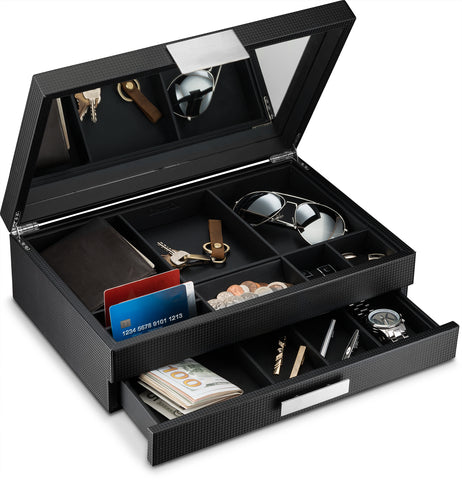 Men's Luxury Jewelry Accessories Box & Dresser Organizer - 12 Slots