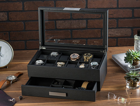 Men's Watch Box Organizer With Valet Drawer - 12 Slots