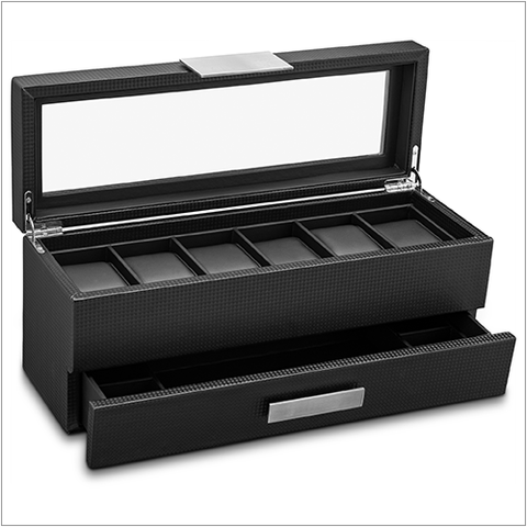 Men's Watch Box Organizer With Valet Drawer - 6 Slots