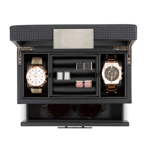 2 Slot Watch Box & Cufflink Tray Organizer with Valet Drawer