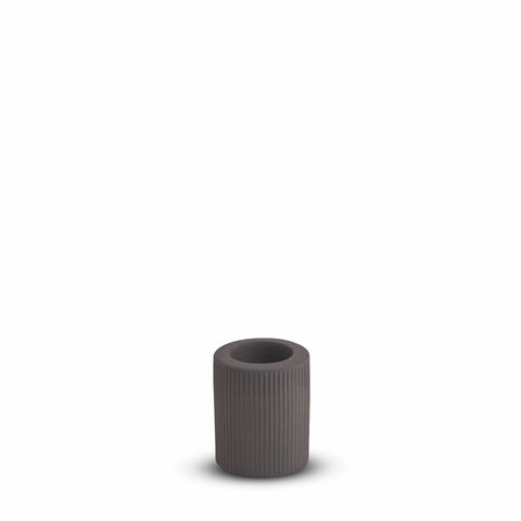 Ribbed Infinity Candle Holder Charcoal (M)