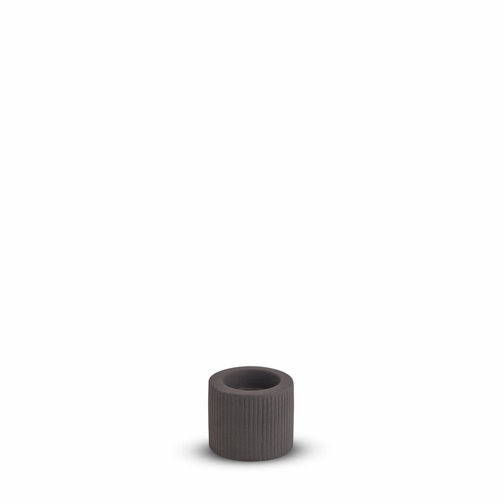 Ribbed Infinity Candle Holder Charcoal (S)