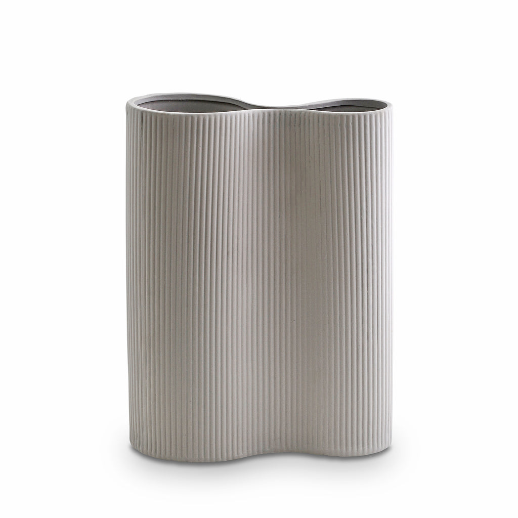 Ribbed Infinity Vase Light Grey (M)